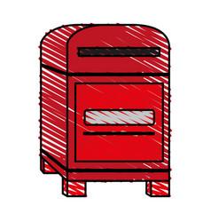 Color crayon stripe image cartoon red post office vector