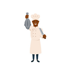 cook character with knife and fish in hands vector image
