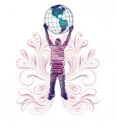 globe holder vector image