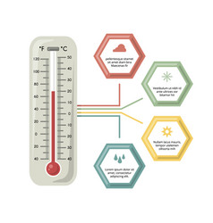 infographic with medicine thermometer vector image