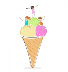 kids with ice cream vector image vector image
