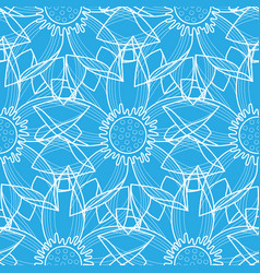 lotus abstract blue seamless pattern vector image