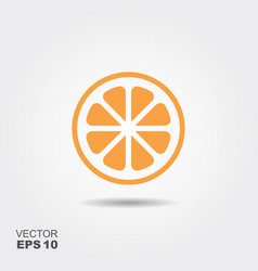 orange flat icon with shadow vector image