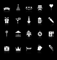 Party time icons with reflect on black background vector image vector image