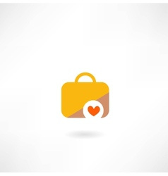 suitcase with a heart icon vector image vector image