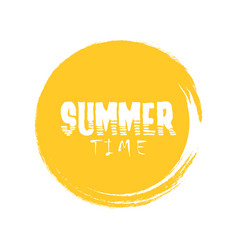 Summer time letter in round grunge orange circle vector