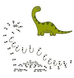 Connect the dots to draw a dinosaur and color it vector image