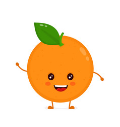 cute smiling happy orange flat vector image vector image