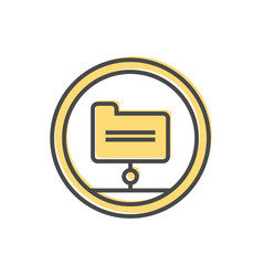 Data sorting icon with folder sign vector