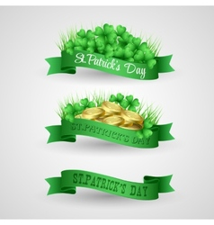 Set of Saint Patrick Day Banner with clover and vector image vector image