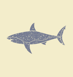 the silhouette of a shark icon vector image vector image