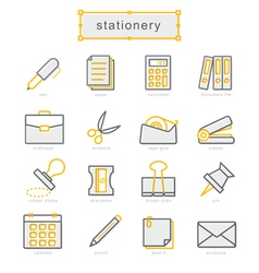 Thin line icons set stationery vector image vector image