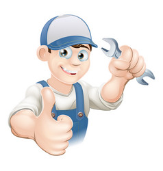 thumbs up plumber or mechanic vector image