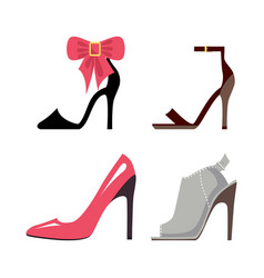 women high-heeled shoes isolated set vector image