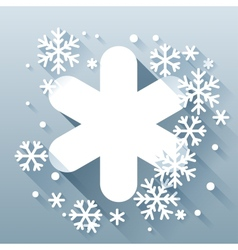Abstract background with snowflakes in flat design vector image