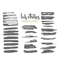 Set of textured dry brush strokes of black ink vector image