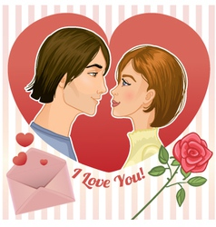 Young couple in a red heart eps10 vector image vector image