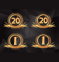 1th 20th anniversary celebrating classic logo vector image