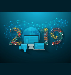 2019 new year business innovation technology vector