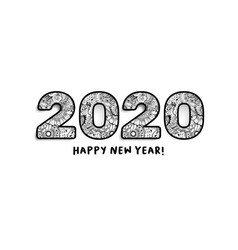 2020 lettering happy new year greeting or vector image