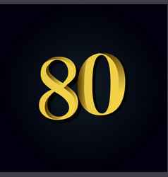 80 years anniversary gold number template design vector