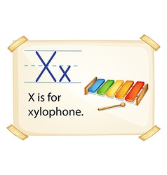 A letter X for xylophone vector image