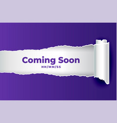 abstract coming soon background in torn paper vector image