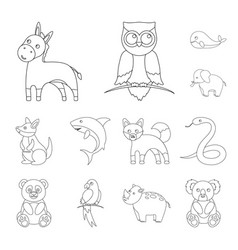 An unrealistic animal outline icons in set vector