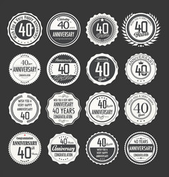 Anniversary retro labels 40 years collection 2 vector