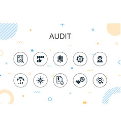 Audit trendy infographic template thin line vector