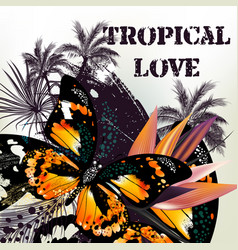 Background with palm leafs and butterfly vector
