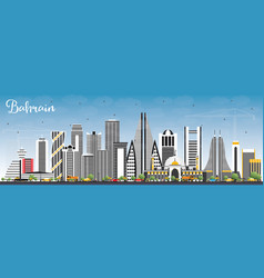 Bahrain city skyline with gray buildings and blue vector