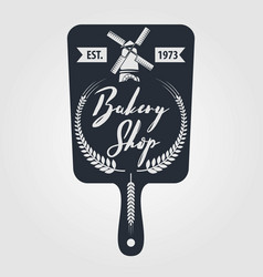 bakery or bread shop logo emblem in vintage style vector image
