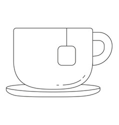 black and white tea coffee cup icon poster vector image