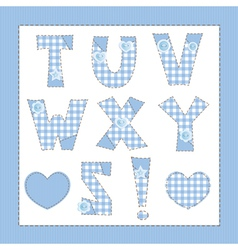 Blue fabric alphabet letters t u v w x y z vector