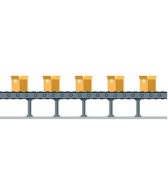box on automatic mechanical packing conveyor line vector image