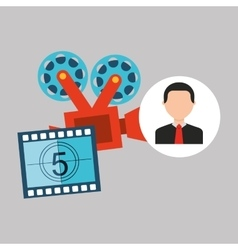 Businessman movie camera film countdown strip vector