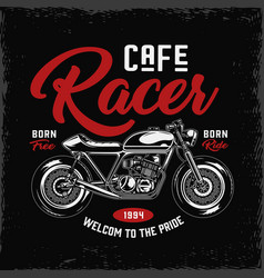 Cafe racer motorcycle label vector