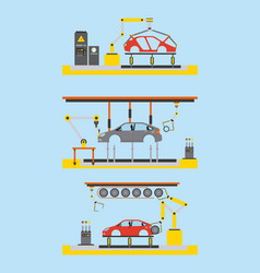 car production plant process step automatic robot vector image