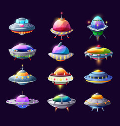 Cartoon ufo alien spaceships and space crafts set vector