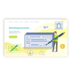 Checking accounts rich man signing bill banking vector