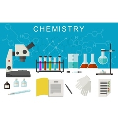 Chemistry flat banner vector image