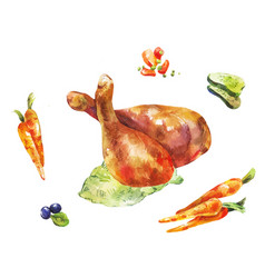 Chicken legs watercolor vegetables with fried vector