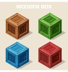 Colored isometric Wooden box icon vector