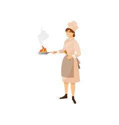 colorful woman cook in kitchen uniform holding vector image