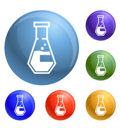 conical flask icons set vector image
