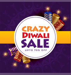 Crazy diwali sale poster design with crackers vector