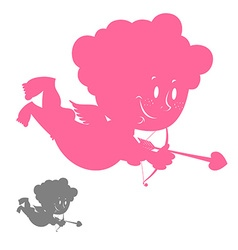 Cupid silhouette Pink Angel with a smile Hilarious vector