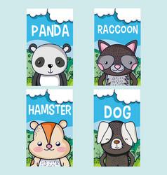 cute animals cartoon cards vector image