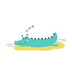 Cute crocodile sleeping on beach funny vector
